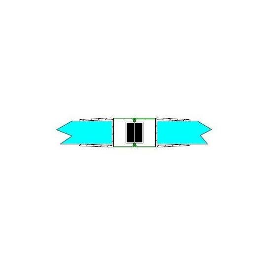 Mágneses profil tolóajtóhoz,8 mm üveghez, fehér DUAL-M-24-8 MM