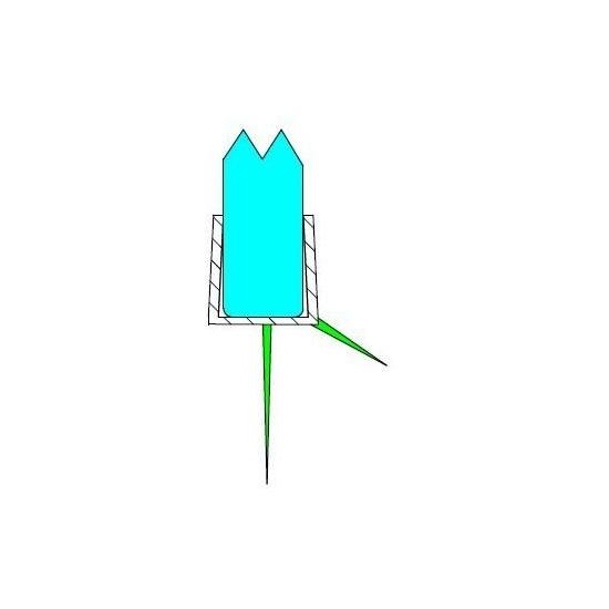 Alsó vízvezető egyszakállas 8 mm üveghez DUAL-P-28-8 mm